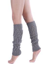 TININNA Medias Calcetines, invierno caliente ahueca hacia fuera Legging de punto de punto de ganchillo calentadores de la pierna calcetines altos de arranque calcetines para muchachas de las mujeres-Gris claro