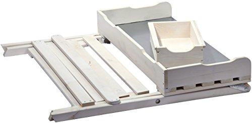 dobar klappbarer Pflanztisch aus Holz mit verzinkter Metall-Arbeitsfläche, Gärtnertisch mit praktischer Schublade, 80 x 40 x 84 cm, weiß