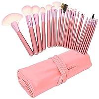 Professional 22 Pcs Makeup Make up Cosmetic Brushes Set Kit Eyeshadow Eyebrow Eyelash Eyeliner Lip Powder Blush Face Brush with Pink Bag Case Pouch