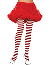 Leg Avenue Plus Red and White Striped Tights