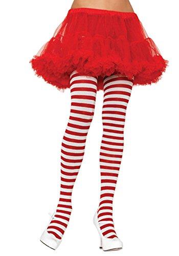 lus Größe Gestreiftes Strümpfhose Kostüm Damen Karneval, weiß/rot, Größe: (EUR 42-46) (Leg Avenue Weihnachts Kostüme)