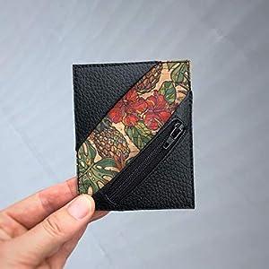 Kreditkartenetui Cardholder Herrengeldbeutel Visitenkarten Etui tablet Kork Monstera Hibiskus schwarz Münzfach RFID…