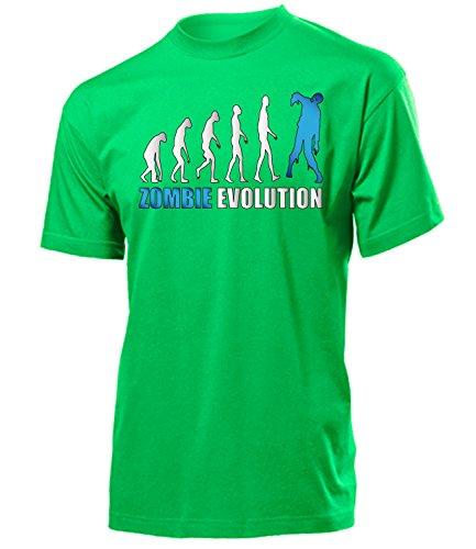 Zombie Evolution 1956 Herren T-Shirt (H-Kellygreen-Weiss-Blau) Gr. XXL