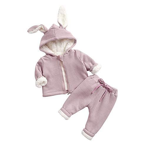 MCYs (12M-5T) Plus Samt Kaninchen Kapuzenjacke Mantel Shirt + Hose Zweiteilig, Kleinkind Kinder Baby Mädchen Langarmplüsch Grid Tops Sweatshirt Outfits -
