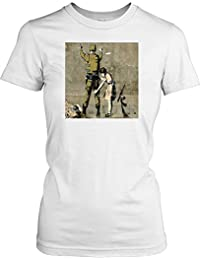 Girl and a Soldier - Banksy - Urban Art Ladies T Shirt - Funny