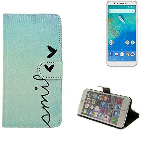 K-S-Trade® Für General Mobile GM 8 Hülle Wallet Case Schutzhülle Flip Cover Tasche Bookstyle Etui Handyhülle ''Smile'' Türkis Standfunktion Kameraschutz (1Stk)