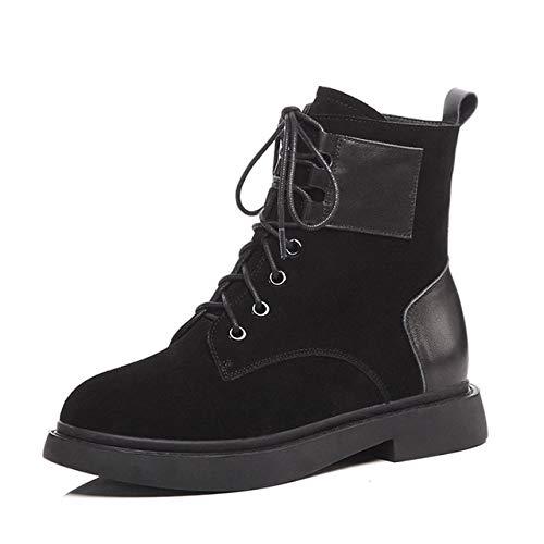 HOESCZS Autumn Ankle Damen Stiefel Platform Army Boot Round Toe Schuhe 2018 Winter Warm Square Heels Elevator Footwear 7.5 Black (Square Boots Toe Black)