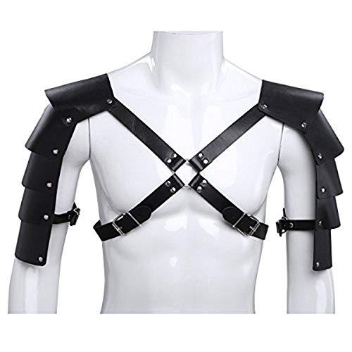iEFiEL Harness Herren Brust Body Harness aus PU Leder Bondage Geschirr Männer erotik Wäsche Kostüm für Clubwear (One Size, Schwarz)