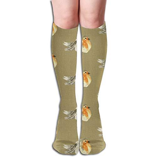 Women's Fancy Design Stocking Baby Bird Robin Fall Autumn Linen Watercolor Orange Tan Cream Tobacco Designs Multi Colorful Patterned Knee High Socks 19.6Inchs