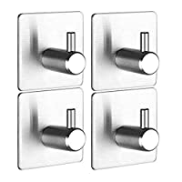 3M Self Adhesive Hooks,Bathroom Towel Hooks,304 Stainless Steel Ultra Strong Towel Stick Hook for Bathroom Kitchen Wall Mount,4 Pack