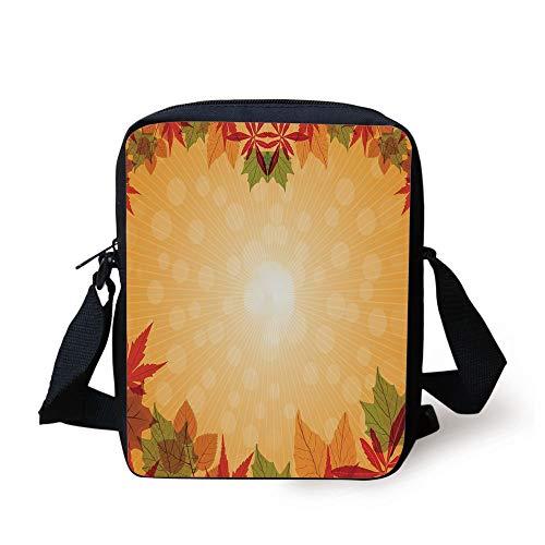 Harvest,Striped Dotted Background and Vibrant Maple Aspen Oak Leaves Seasonal Nature Decorative,Red Green Orange Print Kids Crossbody Messenger Bag Purse - Aspen Green
