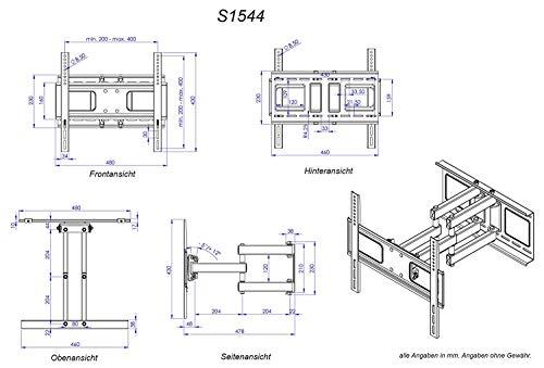RICOO LCD TV Wandhalter Schwenkbar Neigbar S1544 Fernseher Wandhalterung Halterung Fernsehhalterung LED Flachbildschirm ca.76-165cm / 30′- 32′ – 42′ – 47′- 55′ – 65′ Zoll - 7