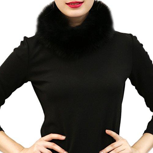 Samber Bufandas de Cuello Mujer Estolas de Pelo Sintético para Fiesta Collar para Decorar Vestidos (Negro)