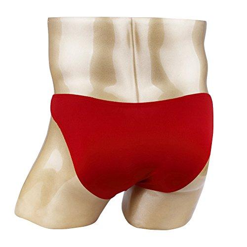 FEESHOW Homme Sous-vêtements Thong Slips Bikini Brief Avec Pénis Trou Taille Basse Rouge