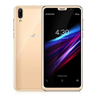Xgody D26 5.5 Inch 18:9 Full Screen Face ID Cheap Smartphone Unlocked, Android Go 8.1 MT6580A Quad-core, 1GB RAM+8GB ROM, Dual Camera, Dual SIM, Bluetooth, WiFi, GPS SIM Free Mobile Phones (Gold)