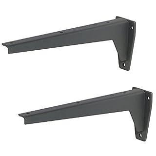 2 Stück - Regalkonsole Metall Schwerlastträger Regalträger MIRA Stahl grau | Tiefe 380 mm | Schwerlast-Konsole Tragkraft 150 kg | Baubeschläge von GedoTec®