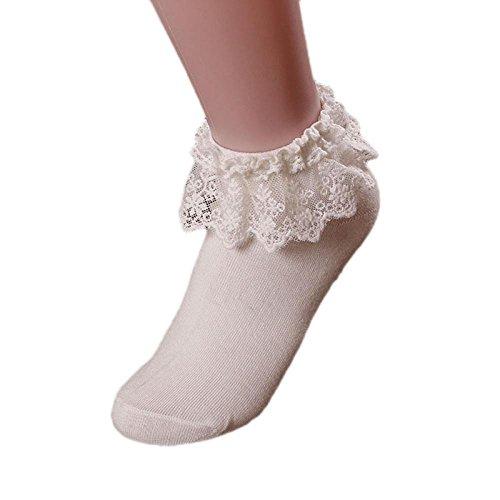 Internet Ein paar Socken Baumwolle Damen Vintage-Spitze Ruffle Rüschen Söckchen (weiß) - Rüschen-söckchen Damen