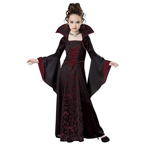 Kinder Vampir Queen Kostüm - Hcxbb-b Halloween Kostüm, Vampire Queen Kostüm for Mädchen, Kostüm Outfit Kinderkleid, 7-8 Jahre (Farbe : Red, Size : 140CM)