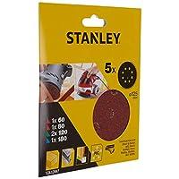 Stanley Sta32047 Zımpara, Kırmızı, 5 Adet, 2 X 60, 1 X 80G, 1 X 120, 1 X 180G 125 Mm