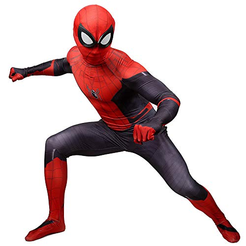 Kostüm Schwarze Und Superhelden Rote - RNGNBKLS Erwachsenes Kind Schwarz Rot Spiderman Kostüm Kinder Film Superheld Halloween Karneval Verkleidung Unisex Spandex Anzug,Child-M