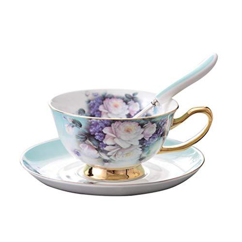 RTG Keramik Teetasse Tee-Set Kaffeetasse Untertasse Löffel-Set, einfaches europäisches Rosenmuster Nachmittagsteetasse-Set, 220 ml Tasse mit kleinem Fassungsvermögen für Erwachsene, mit Geschenkbox
