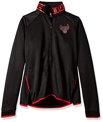 NBA by Outerstuff NBA Youth Girls Chicago Bulls Aviator Full Zip Jacket, Black, Youth X-Large(16)