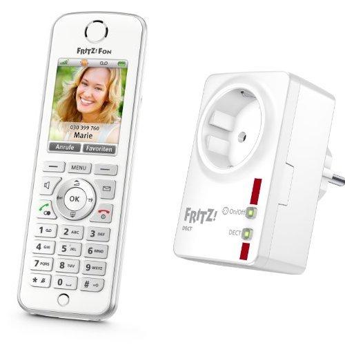 AVM FRITZ!Fon C4 Telefon (Farbdisplay, beleuchtete Tastatur) weiß und AVM FRITZ!DECT 200 Intelligente Steckdose Set