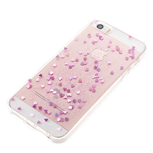 Custodia iphone SE/5/5s, iphone SE/5/5s Cover, iphone SE/5/5s Custodia Silicone,Cozy Hut Case Cover per iphone SE/5/5s, Shiny Sparkly Bling Bling Glitter Conchiglia Caso Guscio Sottile TPU Silicone Ge Amore rosa