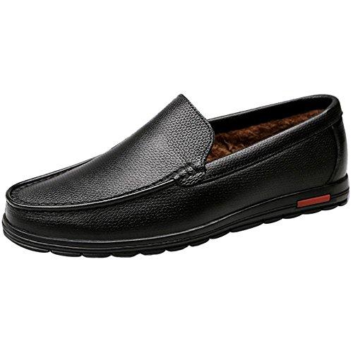 XFJ uomini pelle Appartamento confortevole oxford scarpe nero marrone Nero 1