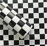 ZCHENG Moderne 45 cm x 10 mt PVC Schwarz Weiß Gestreiften selbstklebende Tapete Vertrag Wandaufkleber für Küche Bad Möbel Haushalt, D