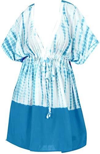 LA LEELA Damen Badeanzug Strand Bikini Überzug Bademode Übergröße Lose Kleid - Blau - Einheitsgröße 14/24W [L/3X] (Womans 3x Strickjacke)