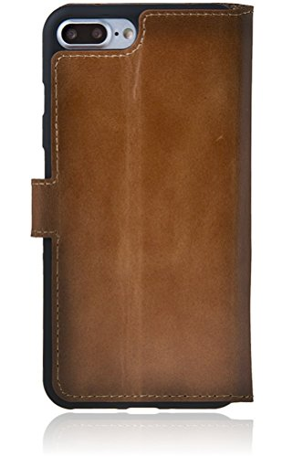 Bouletta Apple iPhone 8 Plus / iPhone 7 Plus Hülle | Leder-Hülle | Premium Handyhülle | Ledertasche | Handytasche | Schutzhülle | Book Cover | Case | Etui mit Kartenfach (Schwarz) Sattel Braun