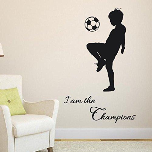 (Prevently Wandaufkleber Junge spielt Fußball Fußballdruck Englischer Aufkleber Alphabetdruck PVC Wandaufkleber Home Decor DIY Art Schlafzimmer Wohnzimmer Kinderzimmer (Als Bild))