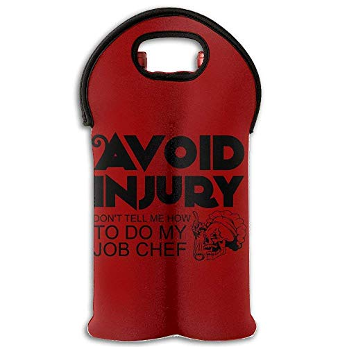 Fashion Avoid Injury Don't Tell Me How To Do My Job Chef Wine Carrier Tote Bag 2-bottle Insulated Neoprene Wine Carrying Tote Multicolor6