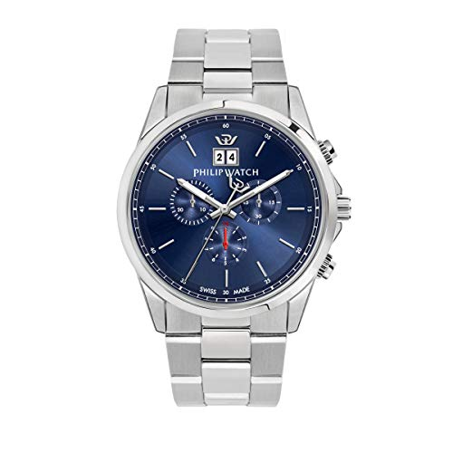 Philip Watch Men's Watch, Capetown Collection, Quartz Movement and Chronograph with Big Date, Equipped with a Stainless Steel Bracelet - R8273612002