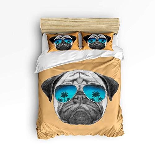Niedliche 3-teilige Bettbezug-Sets für Jungen und Mädchen, Niedlicher Mops mit Sonnenbrille und orangem Muster, Dekoratives Bettwäscheset Beinhaltet 1 Trösterbezug mit 2 Kissenbezügen