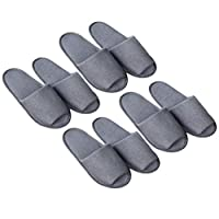 SUPVOX 4 Pairs Disposable Slippers Portable Foldable Open Toe Slippers for Travel Hotel SPA (Grey, for Male)