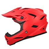 LIDMOTO Motocross-Helme Volles Gesicht Sportfahrrad Offroad für Erwachsene Männer Frauen,red,S