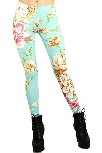 alive-womens-digital-print-cosmic-galaxy-stretch-fashion-leggings-fabric-upgrade-minty-floral