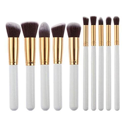 Loveusexy Pinceaux de maquillage 10PCs Makeup Brush Set Fond de teint professionnel Eyeliner Shadow Powder Pinceaux de maquillage White Gold