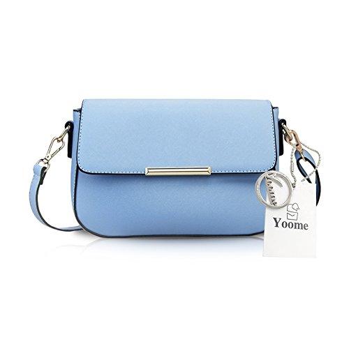 Borsa del messaggero modello retrò Yoome Elegant Flap Retrò per i sacchetti casual delle donne delle scuole per le ragazze - Blu dellacqua Blu