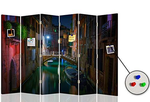 Feeby Biombo Tablero de Corcho Venecia 6 Paneles 360° Arquitectura Pa