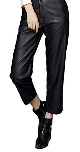 Bigood Pantalon Faux Cuir pour Costume Droit Jambe Large Casual Automne Noir