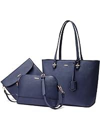 LOVEVOOK Handtasche Damen Shopper Schultertasche Blau Umhängetasche Damen Geldbörse Tragetasche Groß Damen Tasche Tote für Büro Schule Einkauf Reise Leder Handtasche 3-teiliges Set