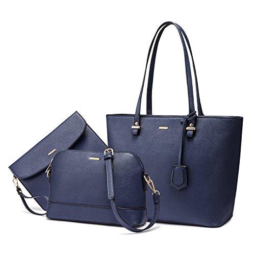 Handtaschen Damen Schultertasche Handtasche Tragetasche Damen Groß Designer Elegant Ümhängetasche Henkeltasche Set 3-teiliges Set Blau