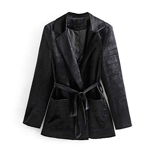 Gürtel Taille Blazer Frauen schwarzer Samt Jacken Frauen Design solide Anzüge Damen -