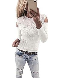 750823a6ea1c Bekleidung Longra Longra Damenmode Sexy Blusen Elegante Blusen Festliche  Blusen Damen Langarm Shirt Schulterfrei Oberteile…