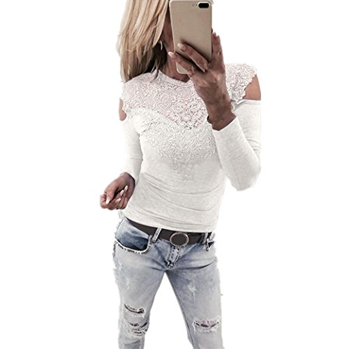 Longra Damenmode Sexy Blusen Elegante Blusen Festliche blusen Damen Langarm Shirt Schulterfrei Oberteile Spitzenbluse tunika Tops Slim Fit blusenshirt T-Shirt (White, M)