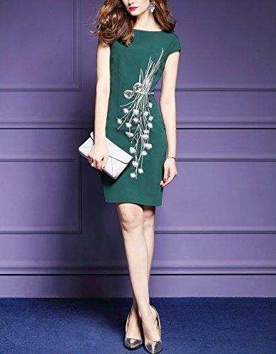 LAI MENG Premium Damen Flügelärmel Wickelkleid mit Verzierungen Elegant Kleid Rundhals Cocktailkleid Sommerkleider Partykleider Abendkleid Green