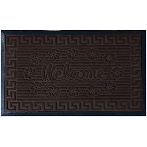 Zerbino gommato Art. Greca Tappetino antiscivolo rettangolare 45x75 cm P098 MORO